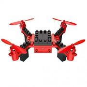 HAWK LI DIY Drone RC Quadcopter con Bloques de construcción de cámara Flying Drone con transmisión en Tiempo Real, Control de Aplicaciones, Desplazamiento, 360 ° Roll, Modo sin Cabeza (Red)