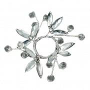 Ljusmanschett i glas med silver löv