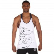 Chaleco Animal Print Color Block Racerback Gym Tank-Blanco