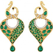 Sukai Jewels Green Pearl Mayur Gold Plated Zinc Cz AD Studded Dangle and Drop Earring for Women & Girls [SER238G]