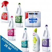 PACHET COMPLEX-G: 1 solutie de descompunere reziduuri + 4 solutii de curatare + 1 odorizant + hartie