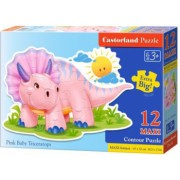 Puzzle Maxi Castorland Pui de Triceratops roz 12 piese