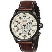 Citizen Brown Leather Round Dial Quartz Watch For Men (CA4215-04W)
