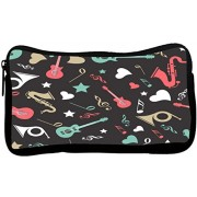 Snoogg Abstract Music Instruments Poly Canvas Student Pen Pencil Case Coin Purse Utility Pouch Cosmetic Makeup Bag