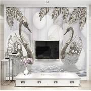 ponana Papel Pintado Estilo Europeo Joyería De Plata De Lujo Hoja Cristal Swan Foto Murales De Pared Sala De Estar Tv Sofá Pegatina-150X120Cm