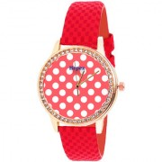 HEPEX Analog Quartz Red Dial Round Leather Women's Watch - h.t 0115