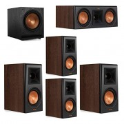 Klipsch 5.1 Walnut System 2 RP-500M Bookshelf Speakers, 1 Klipsch RP-500C Center Speaker, 2 Klipsch RP-500M Surround Speakers, 1 Klipsch SPL-120 Subwoofer
