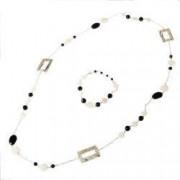 Set bijuterii GANELLI- colier lung si bratara din pietre semipretioase Onix negru Onix alb Sidef