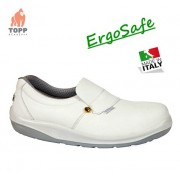Pantofi barbati si femei recomandat medical, sanitar, HoReCa Ergosafe alb ESD