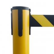 Colonnina Gialla tendilinea in PVC con Nastro giallo e nero - STOP92-GN