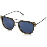 Ralph Lauren Polo Ralph Lauren PH3117 anteojos de sol rectangulares de metal para hombre, Marrón/Azul, 54 mm