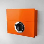 Radius Design Letterman XXL Briefkasten orange (RAL 2009) ohne Klingel mit Pfosten in Briefkastenfarbe