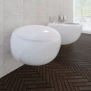 vidaXL Set biele keramické závesné WC s bidetom