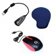 Q8N High Speed Ergonomic Design USB Mouse With 7.1 Channel USB Soundcard And Mousepad (Red Black Blue)