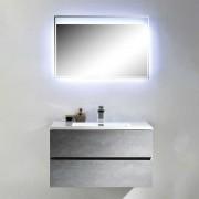 Design Badmöbel Kombination im Beton Grau Dekor LED Beleuchtung (2-teilig)