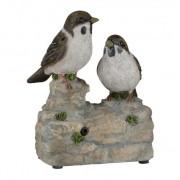 Geen Vogel tuinbeeldje musjes met geluid 11 cm
