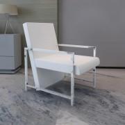 vidaXL Fotel z chromowaną ramą i obiciem ze skóry syntetycznej, biały