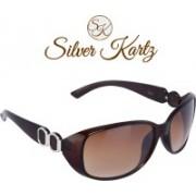 Silver Kartz Wayfarer, Oval Sunglasses(Brown)