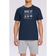 Atlantic Wake Up Pyjama Set Short Sleeved T Shirt & Shorts Loungewear Navy NMP-310