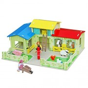 Timy Wooden Farm House Toys Animals Playset Dollhouse with Barn Horse Stable and Accessories