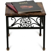 Onlineshoppee Wooden & Iron Stool/Table Size(LxBxH-13.5x13.5x13.5) Inch