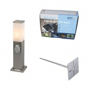 QAZQA Modern Outdoor Pole 45cm Steel with Socket incl. Ground Pin & Cast Resin IP44 - Malios