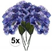 Bellatio flowers & plants 5x Blauwe hortensia kunstbloem 28 cm - Kunstplanten