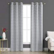 "Sun Murphy Geometric Blackout Rod Pocket Curtain Panel, 40"" x 84"", Gray"