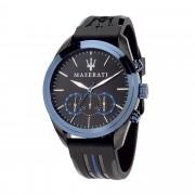Maserati - Cronogrago Traguardo in acciaio e cinturino in pelle PU nero e blu per Uomo