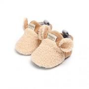 VIENNAR Zapatos de bebé recién nacido para niña, suela suave, antideslizante, para cuna, para recién nacidos, Caqui, 0-6 Months Infant