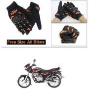 AutoStark Gloves KTM Bike Riding Gloves Orange and Black Riding Gloves Free Size For Bajaj Discover 125