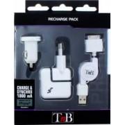 Kit incarcator retea TnB 3 in 1 pentru iPhone si smartphone
