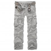 Pantalones Casuales Con Bolsillos Y De Forma Rectos Para Hombre - Gris