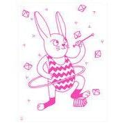 OMY Design & Play Affiche Bunny / Phosphorescente - 30 x 40 cm - OMY Design & Play blanc,rose en papier