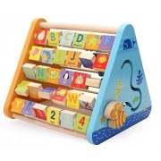 Shanbuyers Wooden 5 Side Learning Shelf Abacus Alphabets Clock Counting Drawing for Kids (Multi-Color)