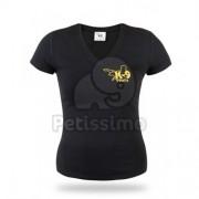 Tricou Julius-K9 pentru femei cu mânecă scurtă V- Neck - Negru M (12VK9-S-M)