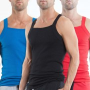 Papi [3 Pack] Premium Cotton Essentials Square Neck Tank Top T Shirt Black & Blue & Red 559102-999