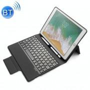 Apple Gekleurde Backlight Bluetooth toetsenbord met lederen Flip Case voor de iPad 9 7 (2018 / 2017) & Air & Air 2 & Pro 9 7 (zwart)