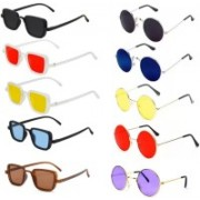 Well Shaded Round, Rectangular Sunglasses(Red, Black, Yellow, Brown, Blue, Violet)