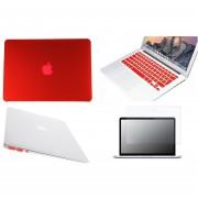 Case Carcasa + Protector De Teclado / Puertos / Pantalla Para Macbook Retina 15'' Model (A1398) -Rojo