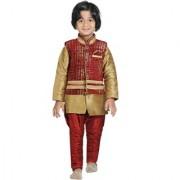 Jeet Maroon Jacket Kurta Pyjama Suit for Boys