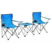 vidaXL Комплект маса и столове за къмпинг, 3 части, син