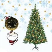 Kunst Kerstboom 210 cm met Dennenappels, Sneeuwoptiek en LED Verlichting