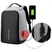 Style Homez Medium Waterproof Anti Theft and USB Charging Casual Backpack Laptop Bag for 14 Laptops Grey Black Color
