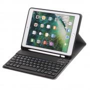 Shop4 - iPad 9.7 (2018) Toetsenbord Hoes - Bluetooth Keyboard Cover Business Donker Blauw met Pencil Houder
