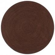 vidaXL Tapete artesanal em juta redondo 150 cm castanho