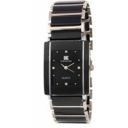 IIK Collection Silver Black Square Dial Best Designing Stylist Professional Analog Metal Watch For Men Boys