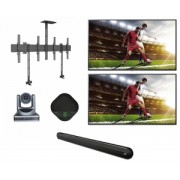 Sistem Videoconferinta cu speakerphone SV16, camera BC 400, Suport dual 6621, 2 Display-uri LG 65'' si Soundbar Polk