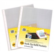 MARBIG KWIK ZIP DISPLAY BOOK REFILLS A4 PACK 10