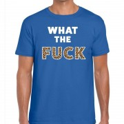 Bellatio Decorations What The Fuck tijgerprint heren T-shirt blauw